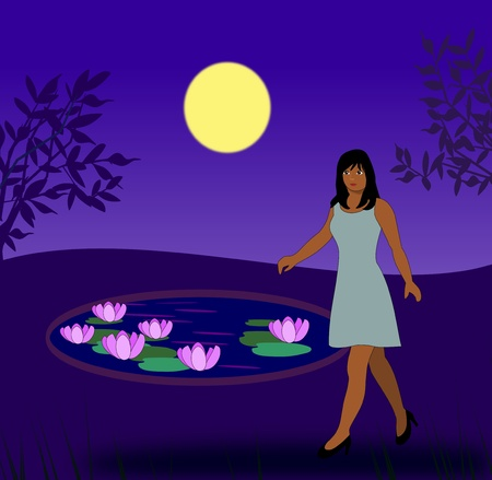 A girl walks by a lily pond in the moonlight. photo
