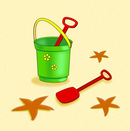 A green bucket of red spades   standing on a beach with   starfishes.