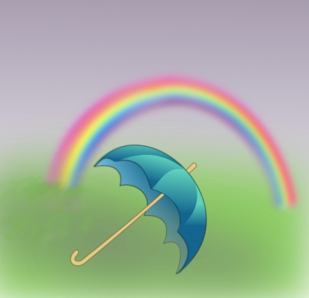 A blue umbrella and a rainbow  photo