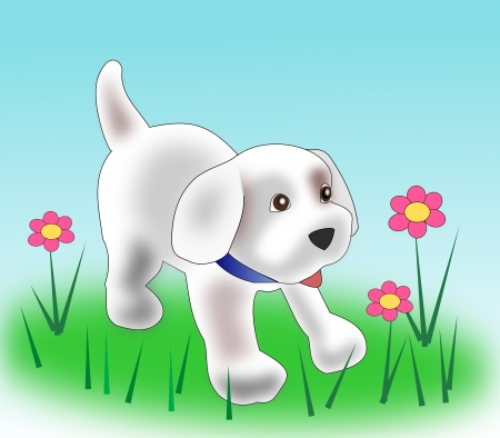 A little puppy and some flowers  photo
