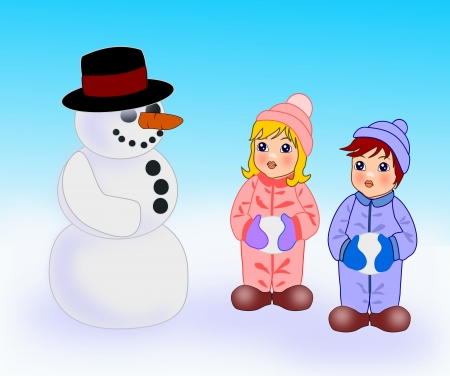 Two small children who are   standing and looking at snowman. photo