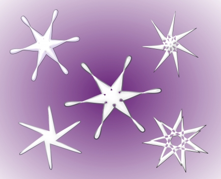 Five shapes resembling stars or snow crystals. Stock Photo - 14391180