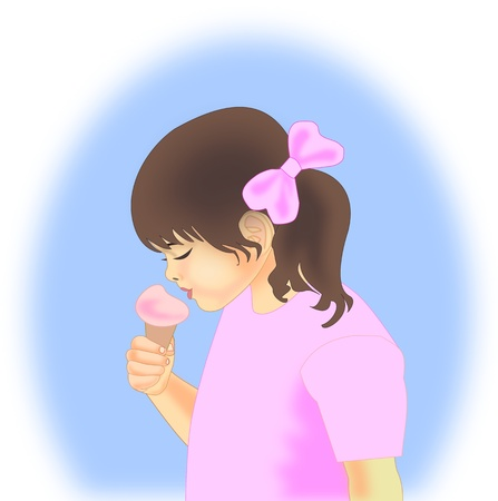 A little girl with pigtails   eating ice cream. photo