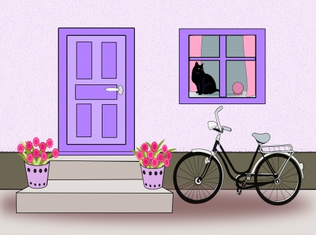 A black bike standing by a blue   painted door and a cat sitting in   the window.