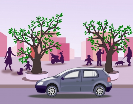 purple car: A street with people and dogs,   trees, houses, a moped and a car.