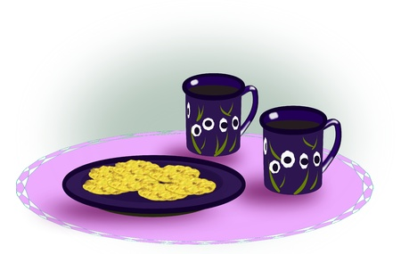 Two cups of coffee and a plate of   biscuits standing on a purple   tablecloth.  photo