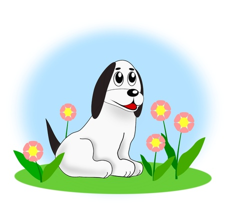 watchdog: A white dog sitting in a  flower meadow.  Stock Photo