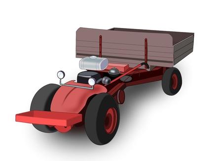 tillage: Ilustraci�n de un viejo tractor rojo sobre un fondo blanco.
