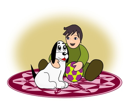A little boy sitting on a round rug with a white dog.  photo