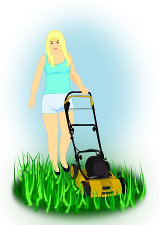 push mower: A young girl with a yellow lawn   mower.  Stock Photo