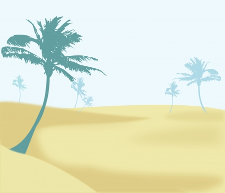 Desert Landscape with some palm   trees against a blue sky. photo