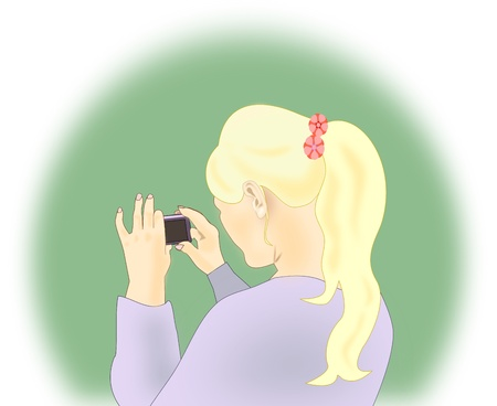 Blonde girl shooting with a mobile   phone. photo
