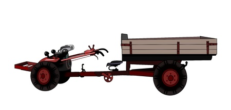 Illustration of an old red tractor   over a white background. illustration