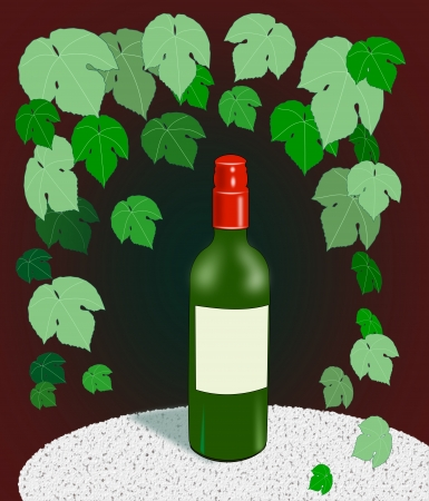 intoxicating: A wine bottle standing on a table   surrounded by grape leaves.