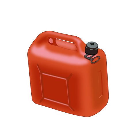 Illustration of a red gasoline can   over a white background. illustration