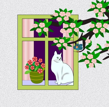 A cat sitting in a window and   looking at a blue bird on a   flowering branch. photo