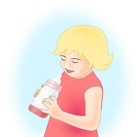 A little blond girl in a red dress   holding a baby bottle.  photo