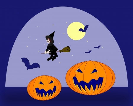 Two halloween pumpkins, a witch on a   broomstick, and many flying bats. photo