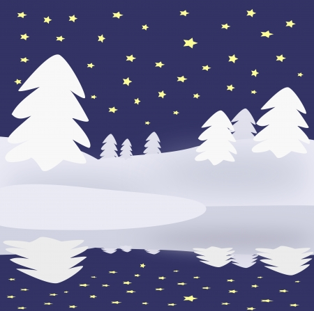 Winter night with starry sky and   trees reflected in the water. photo