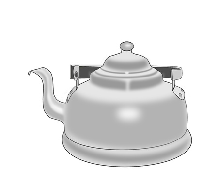 Illustration of an old fashioned   coffee pot over white background. illustration