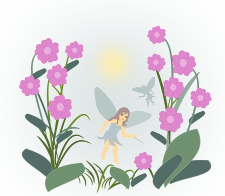 Little fairies flying between large   purple flowers. photo