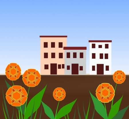 Three houses in the background, large flowers in the foreground. photo