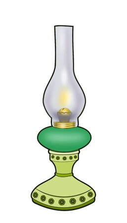 kerosene: Illustration of a green kerosene lamp   over white background. Stock Photo