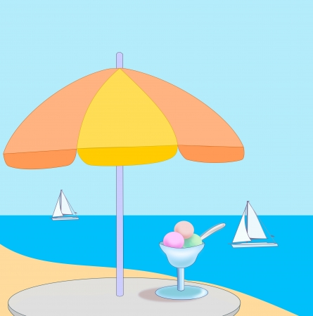 A table with an ice cream under a parasol and views of the sea. Stock Photo - 17096887