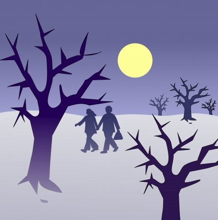 A couple walking together through a ghostly landscape. Stock Photo - 17096884