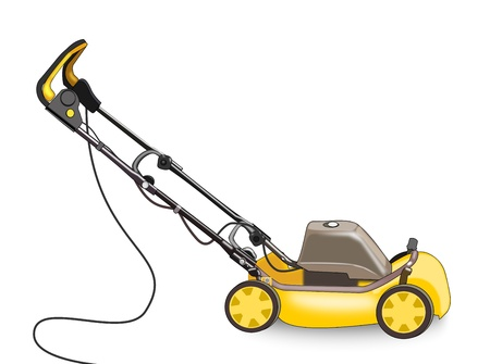 push mower: Illustration of a lawn mower on a white background Stock Photo