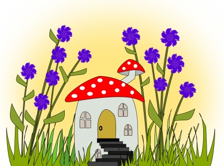 Fantasy home that looks like a  fly agaric between blue flowers. photo