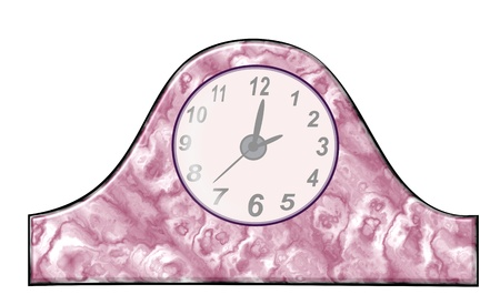sounding: A mottled violet and white old   clock. Stock Photo