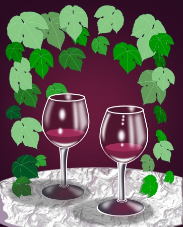 intoxicating: Two wine glasses standing on a   round table surrounded by grape   leaves.