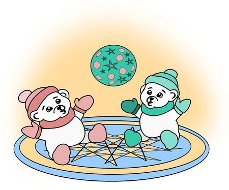 cheerfulness: Two white teddy bear playing with a   ball.