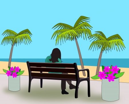 A person sitting a bench and looking   out over a beach with palm trees  photo