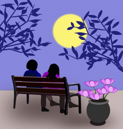 A couple sitting on a bench in the moonlight  photo