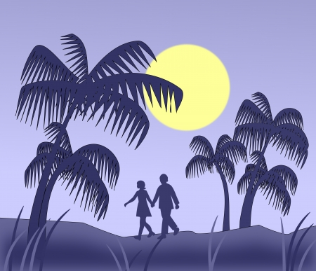 morning walk: A couple who are walking in   moonlight between tall palm trees.