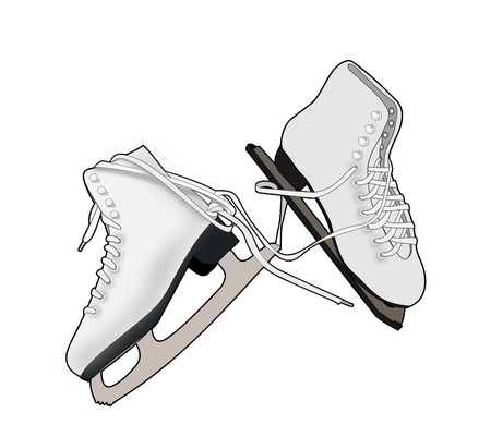 Illustration of a a   pair of skates on a   white background. illustration