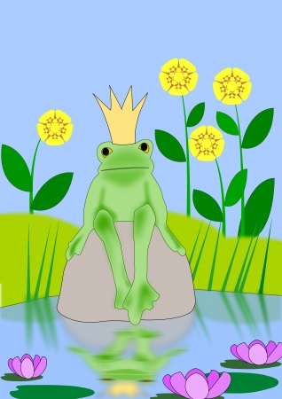 A frog with a crown on his head sitting on a rock in a pond  photo