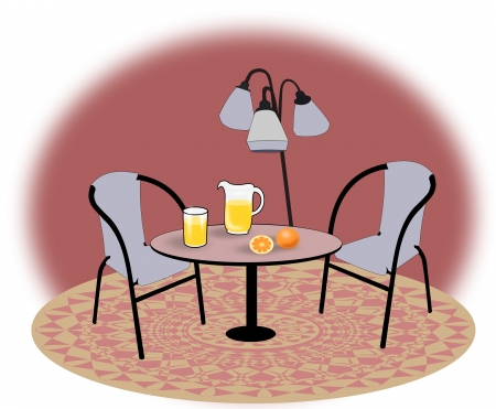 Two chairs, a table   with oranges and a   glass and a pitcher   of lemonade and a   lamp  photo