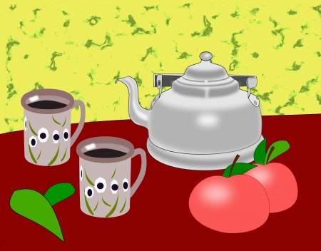 An old coffee pot, two mugs and two apples  photo