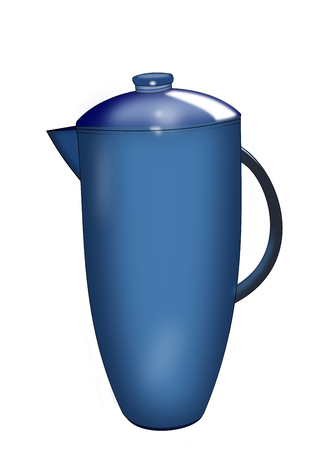 stoneware: Illustration of a blue   pitcher on white    Stock Photo