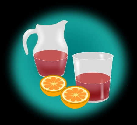 Two half oranges, a jug   and a glass of wine or   juice  photo