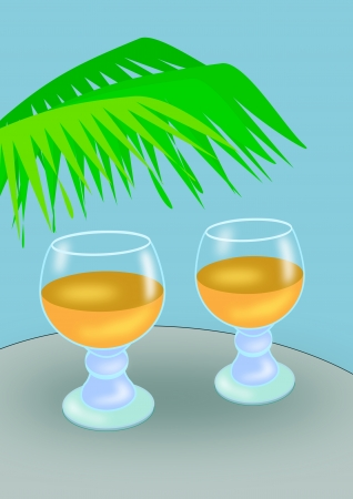 Two glasses of beer   standing on a table under   palm branches  photo
