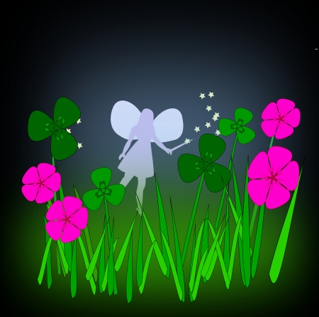 A little fairy with a magic wand between purple flowers and green clover  photo