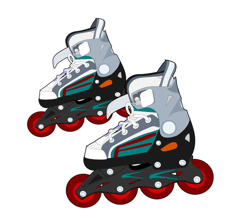 rollerblade:  A pair of roller skates on a white background