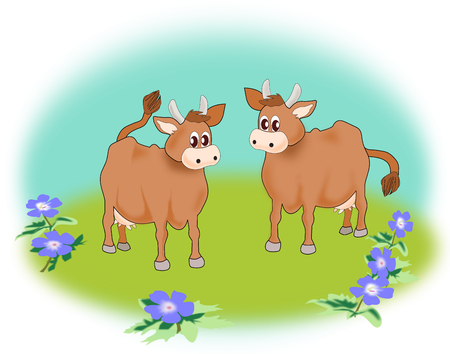 Two cute cows standing together in a field of flowers  photo