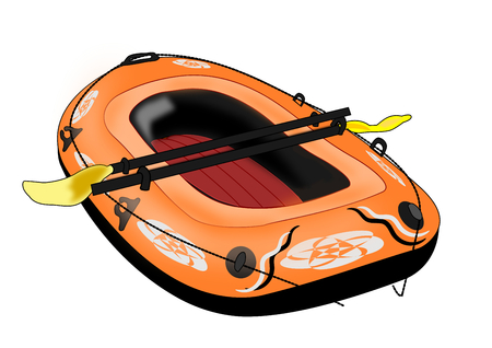 Illustration of a rubber boat over a white background  Stock Photo