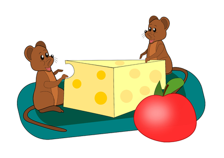 Two little mouse with a cheese and an apple  photo
