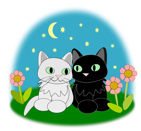 Two cute cats sitting together and looking happy
